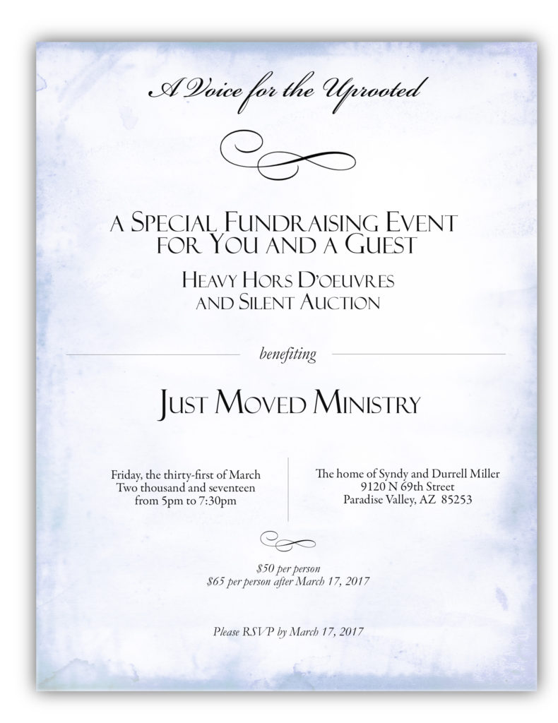 Just Moved Ministry fundraiser invitation
