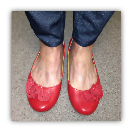red squeaky shoes